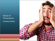 Man looking scared PowerPoint Template