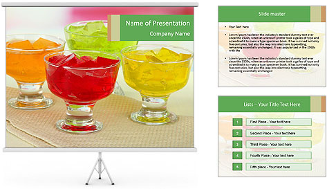 Tasty jelly cubes in bowls on table PowerPoint Template