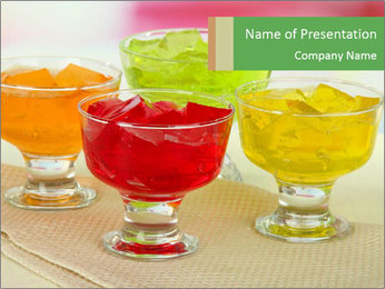 Tasty jelly cubes in bowls on table PowerPoint Template - Slide 1