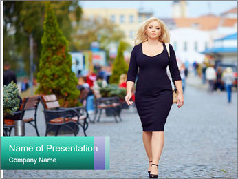 Confident overweight woman walking PowerPoint Template