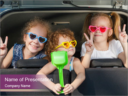Two little girls and boy sitting in the car PowerPoint Templates