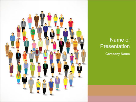 A large group of pixel people icon design PowerPoint Template