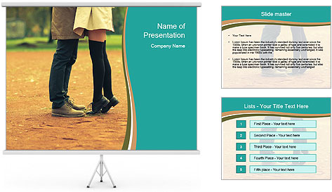 Beautiful young couple tenderly kissing PowerPoint Template