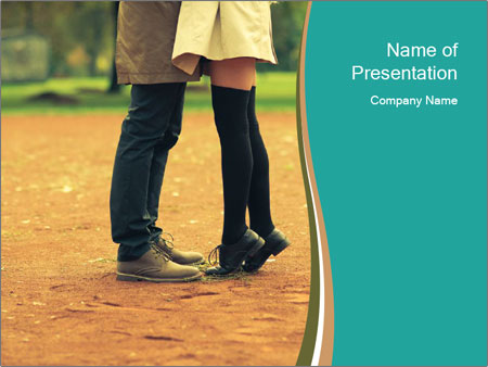 Beautiful young couple tenderly kissing PowerPoint Templates