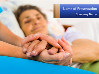 Caring nurse holding kind elderly lady's hands PowerPoint Templates - Slide 1