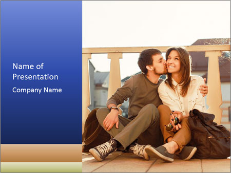 Young beautiful couple in love sitting and posing outdoor PowerPoint Templates