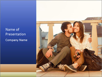 Young beautiful couple in love sitting and posing outdoor PowerPoint Templates - Slide 1