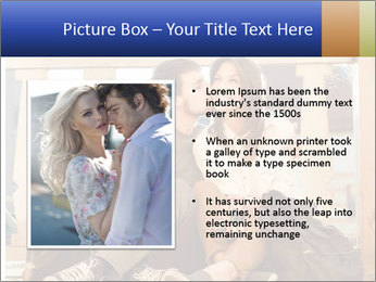 Young beautiful couple in love sitting and posing outdoor PowerPoint Templates - Slide 13