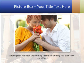 Young beautiful couple in love sitting and posing outdoor PowerPoint Templates - Slide 15