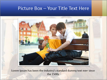 Young beautiful couple in love sitting and posing outdoor PowerPoint Templates - Slide 16