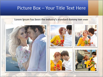 Young beautiful couple in love sitting and posing outdoor PowerPoint Templates - Slide 19