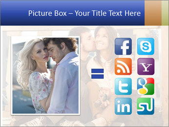 Young beautiful couple in love sitting and posing outdoor PowerPoint Templates - Slide 21