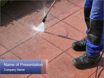Caretaker with high-pressure PowerPoint Template