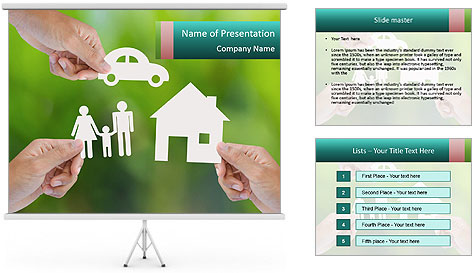 Hand holding a paper home PowerPoint Template