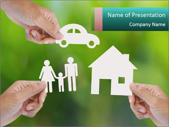 Hand holding a paper home PowerPoint Template - Slide 1