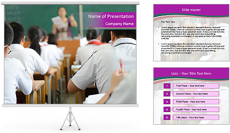 Group of middle school studying in classroom PowerPoint Template