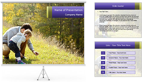 Father introducing toddler daughter PowerPoint Template