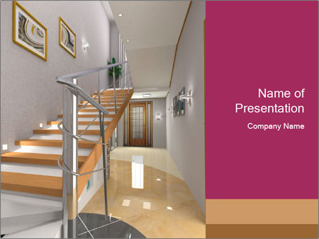 Modern hall interior with stair PowerPoint Template