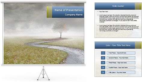 Beautiful landscape with a isolated tree PowerPoint Template