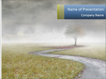 Beautiful landscape with a isolated tree PowerPoint Template - Slide 1