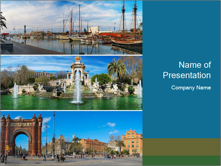 Set of three Barcelona PowerPoint Templates