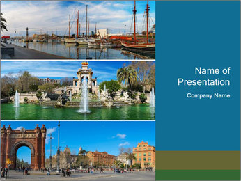 Set of three Barcelona PowerPoint Template