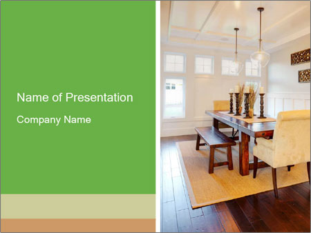 Dining Room in New Luxury Home PowerPoint Templates