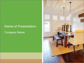 Dining Room in New Luxury Home PowerPoint Template - Slide 1