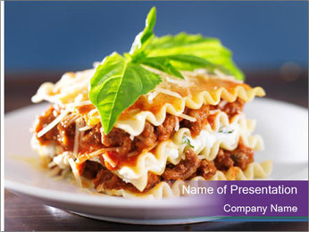Lasagna with basil and ricotta cheese PowerPoint Template