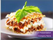 Lasagna with basil and ricotta cheese PowerPoint Templates