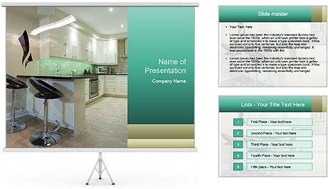 Interior design of modern kitchen PowerPoint Template