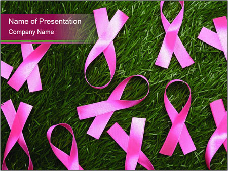 Many pink ribbon on green grass PowerPoint Template