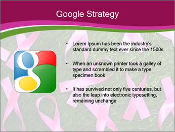 Many pink ribbon on green grass PowerPoint Template - Slide 10