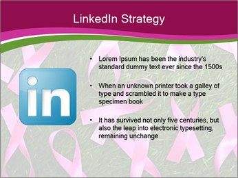 Many pink ribbon on green grass PowerPoint Template - Slide 12