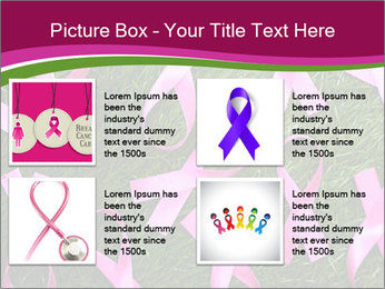 Many pink ribbon on green grass PowerPoint Template - Slide 14
