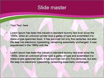 Many pink ribbon on green grass PowerPoint Template - Slide 2
