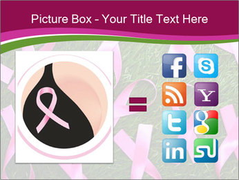 Many pink ribbon on green grass PowerPoint Template - Slide 21