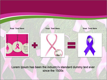 Many pink ribbon on green grass PowerPoint Template - Slide 22