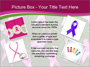 Many pink ribbon on green grass PowerPoint Template - Slide 24