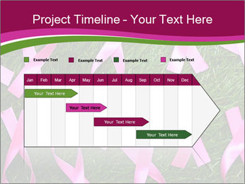 Many pink ribbon on green grass PowerPoint Template - Slide 25