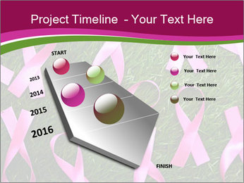 Many pink ribbon on green grass PowerPoint Template - Slide 26