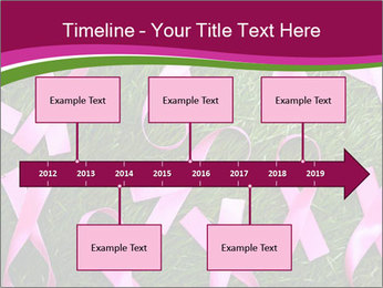 Many pink ribbon on green grass PowerPoint Template - Slide 28