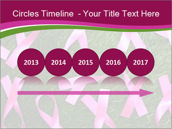 Many pink ribbon on green grass PowerPoint Template - Slide 29