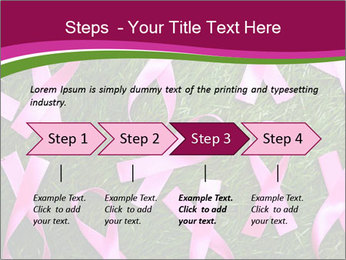 Many pink ribbon on green grass PowerPoint Template - Slide 4