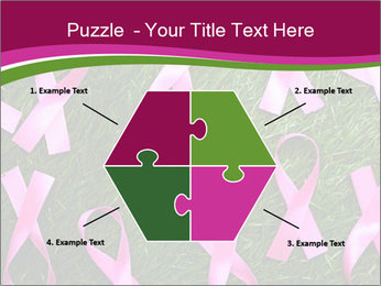 Many pink ribbon on green grass PowerPoint Template - Slide 40