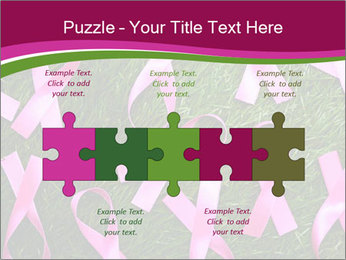 Many pink ribbon on green grass PowerPoint Template - Slide 41