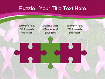 Many pink ribbon on green grass PowerPoint Template - Slide 42