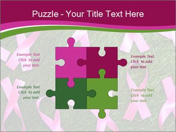 Many pink ribbon on green grass PowerPoint Template - Slide 43