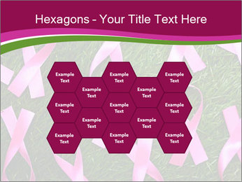 Many pink ribbon on green grass PowerPoint Template - Slide 44