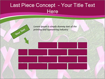 Many pink ribbon on green grass PowerPoint Template - Slide 46